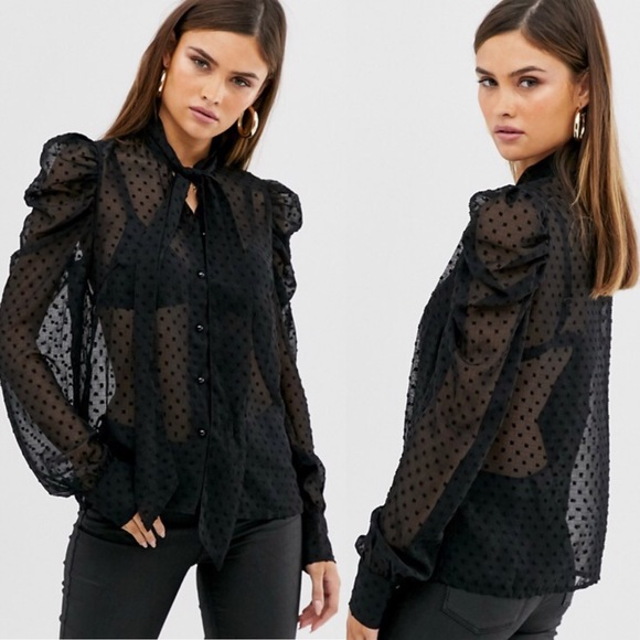 🎄🆕 Y.A.S Pussy Bow Polka Dot Sheer Black Blouse